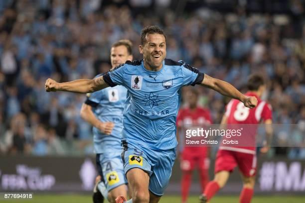 Deyvison Rogerio da Silva Bobo of Sydney FC celebrates scoring the winning goal during the FFA Cup Final match between Sydney FC and Adelaide United...