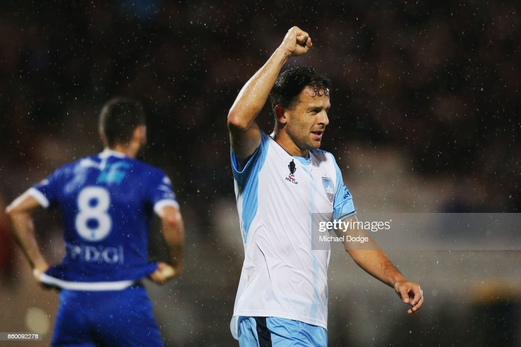 Deyvison Rogerio Da Silva of Sydney FC celebrates a goal during the FFA Cup Semi Final match between South Melbourne FC and Sydney FC at Lakeside Stadium on October 11, 2017 in Melbourne, Australia.