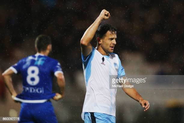 Deyvison Rogerio Da Silva of Sydney FC celebrates a goal during the FFA Cup Semi Final match between South Melbourne FC and Sydney FC at Lakeside...