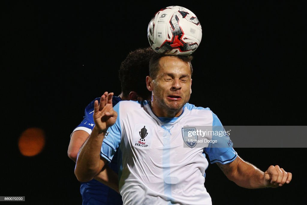Deyvison Rogerio Da Silva of Sydney FC heads the ball during the FFA Cup Semi Final match between South Melbourne FC and Sydney FC at Lakeside Stadium on October 11, 2017 in Melbourne, Australia.