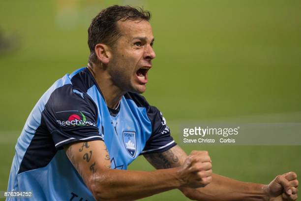 Deyvison Rogério da Silva Bobô of the Sydney FC celebrates scoring the winning goal during the round seven ALeague match between Sydney FC and...