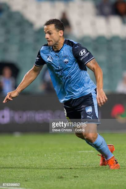 Deyvison Rogério da Silva Bobô of the Sydney FC celebrates scoring the winning goal during the round seven ALeague match between Sydney FC and...