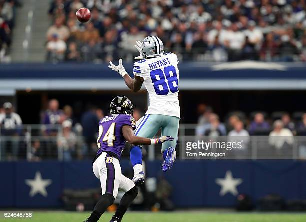 Dez Bryant catches a pass from Dak Prescott of the Dallas Cowboys during the second quarter against the Baltimore Ravens at ATT Stadium on November...