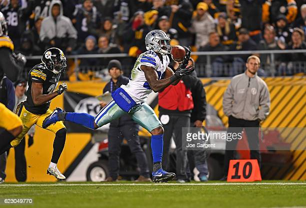 Dez Bryant of the Dallas Cowboys catches a pass for a 50 yard touchdown reception in the third quarter during the game against the Pittsburgh...