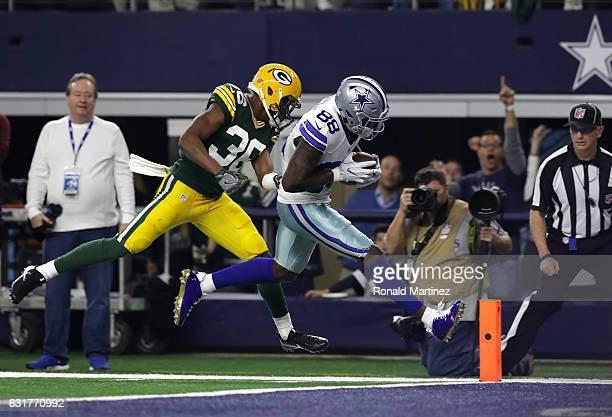 Dez Bryant of the Dallas Cowboys catches a touchdown pass from Dak Prescott during the second quarter against the Green Bay Packers in the NFC...