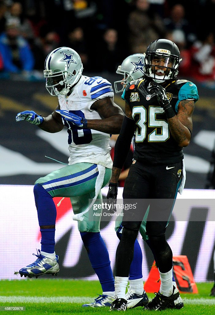 Dez Bryant #88 of the Dallas Cowboys celebrates after scoring a touchdown during the NFL week 10 match between the Jackson Jaguars and the Dallas Cowboys at Wembley Stadium on November 9, 2014 in London, England.