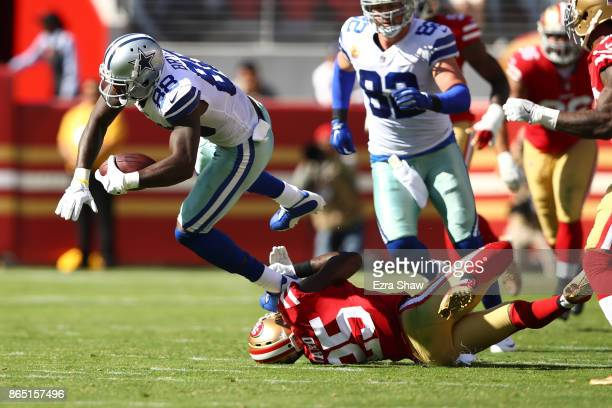 Dez Bryant of the Dallas Cowboys makes a catch against the San Francisco 49ers during their NFL game at Levi's Stadium on October 22 2017 in Santa...