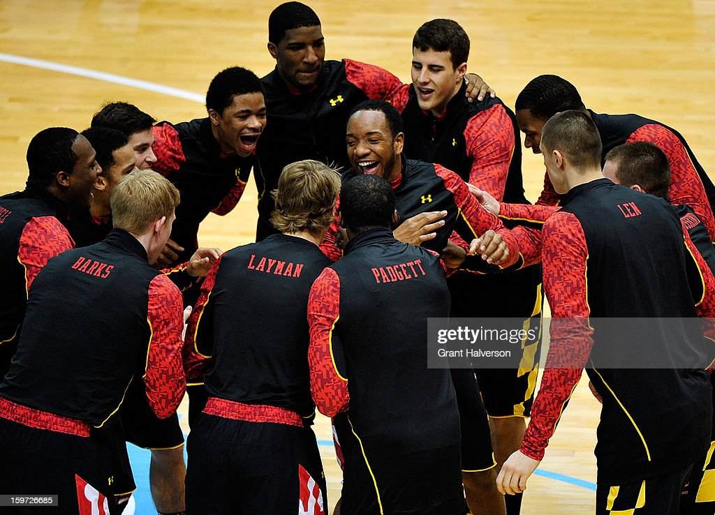 Dez Wells #32 (center) and the Maryland Terrapins huddle before a game against the North Carolina Tar Heels during play at the Dean Smith Center on January 19, 2013 in Chapel Hill, North Carolina. North Carolina won 62-52.