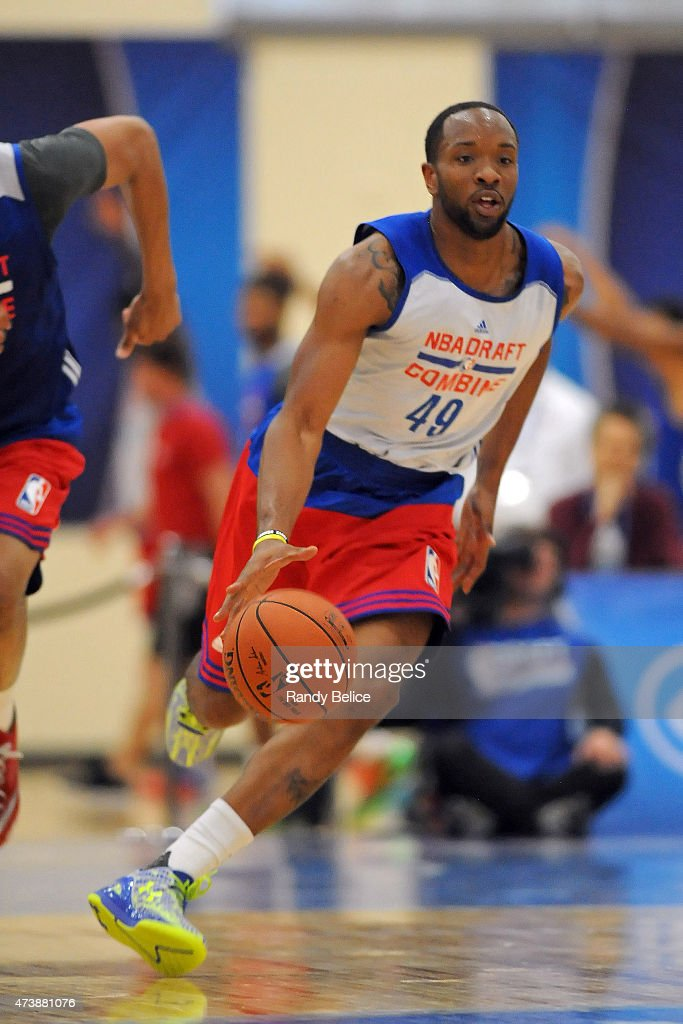 Dez Wells moves the ball up court during the 2015 NBA Draft Combine on May 15 2015 at Quest Multiplex in Chicago Illinois NOTE TO USER User expressly...