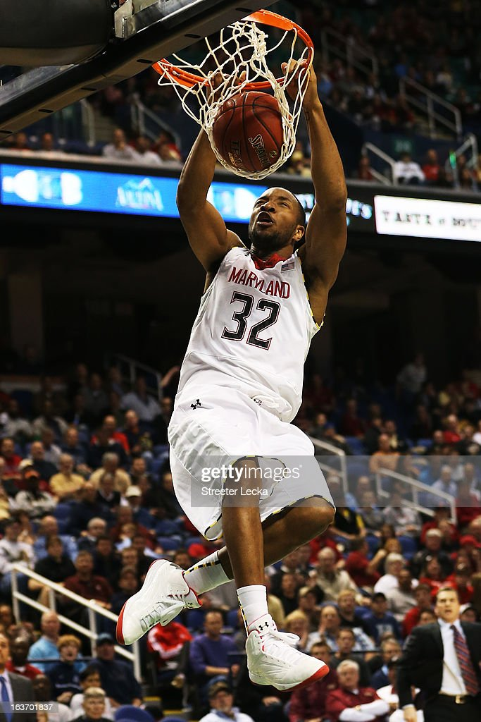 Dez Wells #32 of the Maryland Terrapins dunks against the Wake Forest Demon Deacons during the first round of the Men's ACC Basketball Tournament at Greensboro Coliseum on March 14, 2013 in Greensboro, North Carolina.