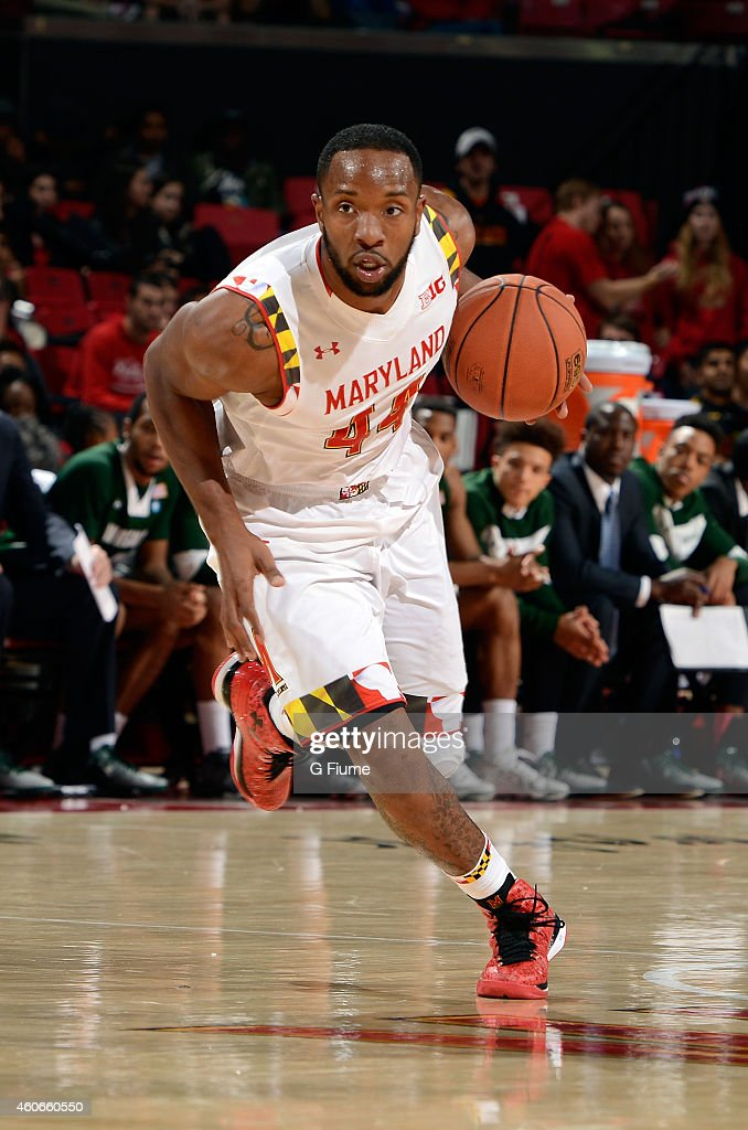 Dez Wells of the Maryland Terrapins handles the ball against the Wagner Seahawks at the Xfinity Center on November 14 2014 in College Park Maryland