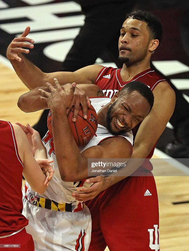<a gi-track='captionPersonalityLinkClicked' href=/galleries/search?phrase=Dez+Wells&family=editorial&specificpeople=9960403 ng-click='$event.stopPropagation()'>Dez Wells</a> #44 of the Maryland Terrapins is fouled as he rebounds by <a gi-track='captionPersonalityLinkClicked' href=/galleries/search?phrase=James+Blackmon&family=editorial&specificpeople=11049647 ng-click='$event.stopPropagation()'>James Blackmon</a> Jr. #1 of the Indiana Hoosiers during the quarterfinal round of the 2015 Big Ten Men's Basketball Tournament at the United Center on March 13, 2015 in Chicago, Illinois. Maryland defeated Indiana 75-69.