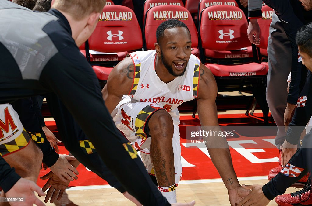 Dez Wells of the Maryland Terrapins is introduced before the game against the Wagner Seahawks at the Xfinity Center on November 14 2014 in College...