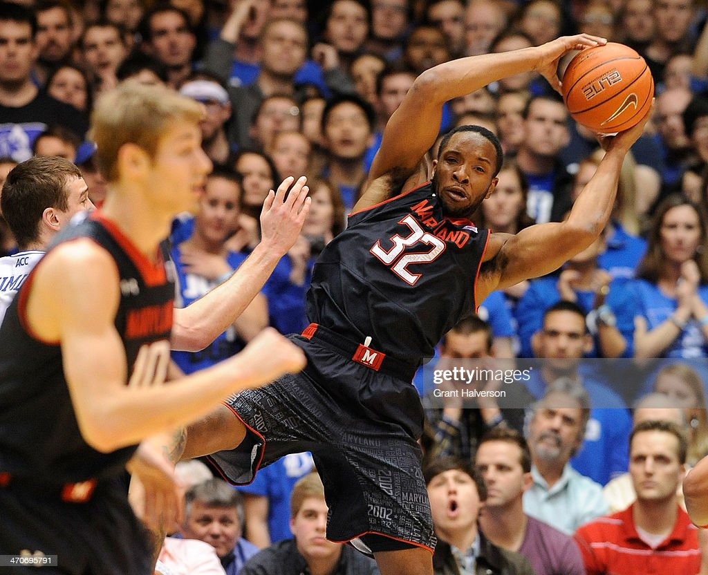 Dez Wells of the Maryland Terrapins pulls down a rebound against the Duke Blue Devils during their game at Cameron Indoor Stadium on February 15 2014...