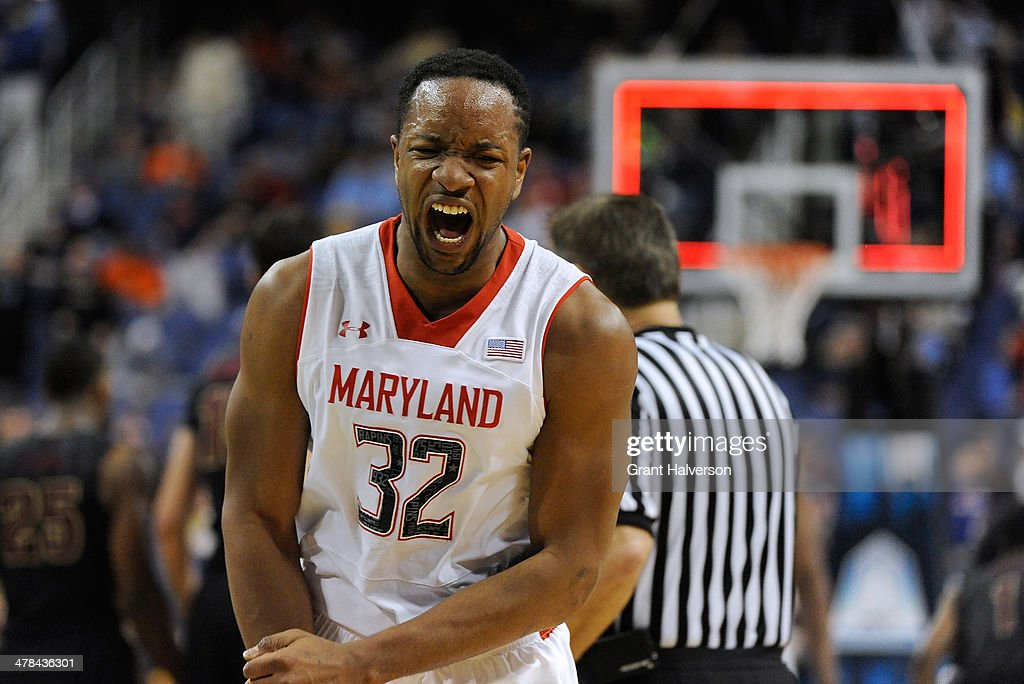 Dez Wells of the Maryland Terrapins reacts as time expires in a 6765 loss to the Florida State Seminoles during the second round of the 2014 Men's...