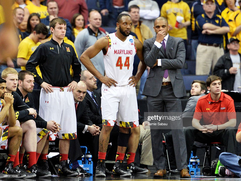 <a gi-track='captionPersonalityLinkClicked' href=/galleries/search?phrase=Dez+Wells&family=editorial&specificpeople=9960403 ng-click='$event.stopPropagation()'>Dez Wells</a> #44 of the Maryland Terrapins reacts on the bench during their 59 to 69 loss to the West Virginia Mountaineers during the third round of the 2015 NCAA Men's Basketball Tournament at Nationwide Arena on March 22, 2015 in Columbus, Ohio.