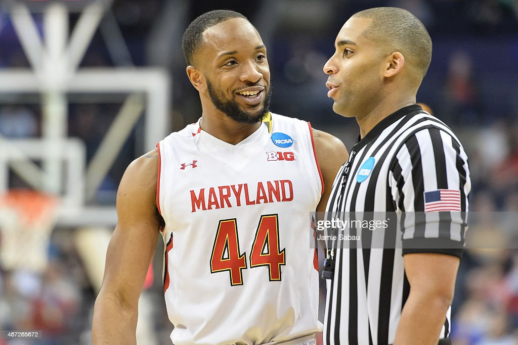 Dez Wells of the Maryland Terrapins speaks with the referee during a game against Valparaiso Crusaders during the second round of the 2015 NCAA Men's...