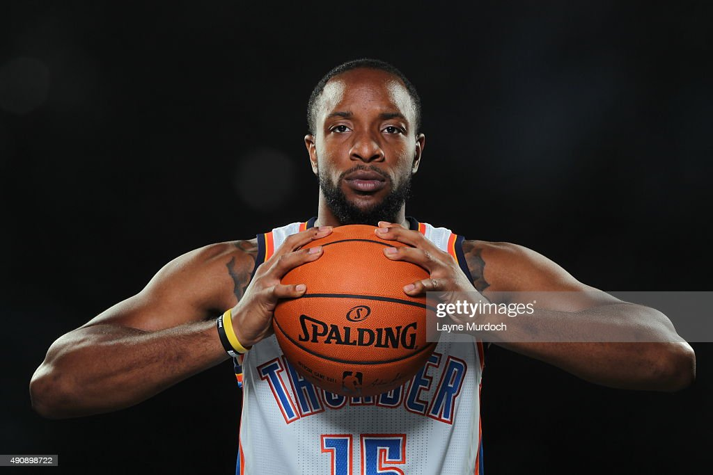 Dez Wells of the Oklahoma City Thunder poses for a portrait during 2015 NBA Media Day on September 28 2015 at the Thunder Events Center in Edmond...