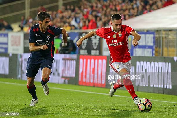 SU 1 Dezembros forward Goncalo Maria and Benfica's Serbian forward Andrija Zivkovic during SU 1 Dezembro v Benfica Portuguese Cup at Estadio Antonio...