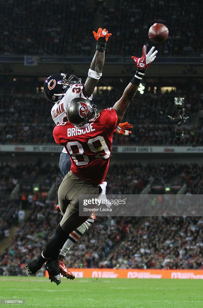 Dezmon Briscoe #89 of the Tampa Bay Buccaneers and <a gi-track='captionPersonalityLinkClicked' href=/galleries/search?phrase=Charles+Tillman&family=editorial&specificpeople=217609 ng-click='$event.stopPropagation()'>Charles Tillman</a> #33 of the Chicago Bears challenge for the ball during the NFL International Series match between Chicago Bears and Tampa Bay Buccaneers at Wembley Stadium on October 23, 2011 in London, England. This is the fifth occasion where a regular season NFL match has been played in London.