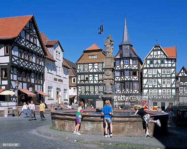 DFritzlar Eder West Hesse Highlands Hessian Highlands Hesse old town market place halftimbered houses kontor building guildhall Fritzlar Guild Roland...