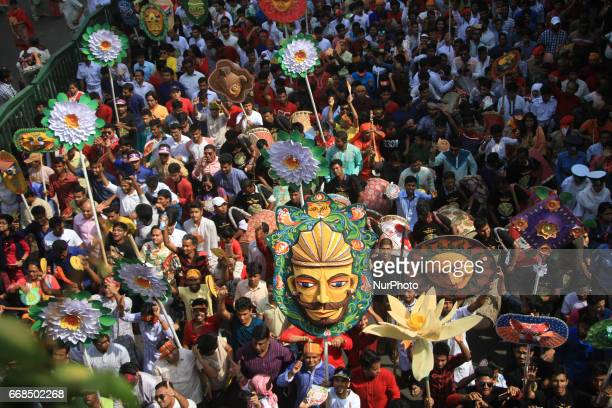 Dhaka Bangladesh April 14 2017 Thousands of people joined in a rally to celebrate Bengali New Year 1424 in Dhaka Bangladesh on April 14 2017 People...