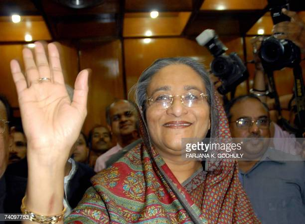 Former Bangladeshi Prime Minister Sheikh Hasina Wajed waves upon her arrival at Zia International Airport in Dhaka 07 May 2007 Hasina Wajed was...
