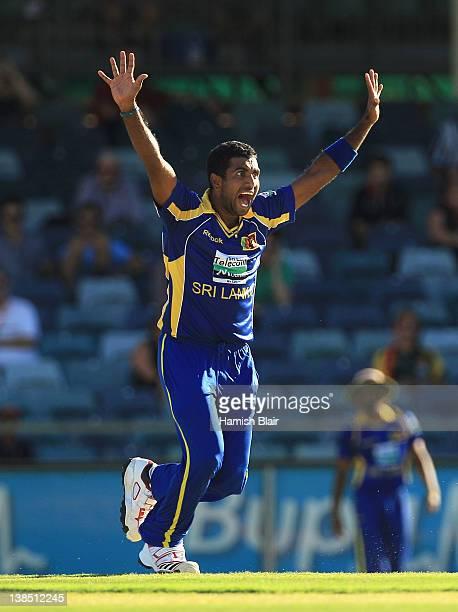 Dhammika Prasad of Sri Lanka appeals unsuccessfully against Virat Kohli of India during the One Day International match between India and Sri Lanka...