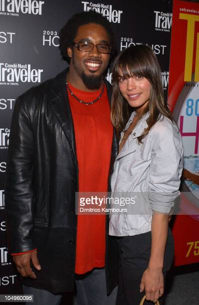 Dhani Jones and Amber Noelle during 2003 Conde Nast Traveler 'Hot List' Party at Maritime Hotel in New York City New York United States