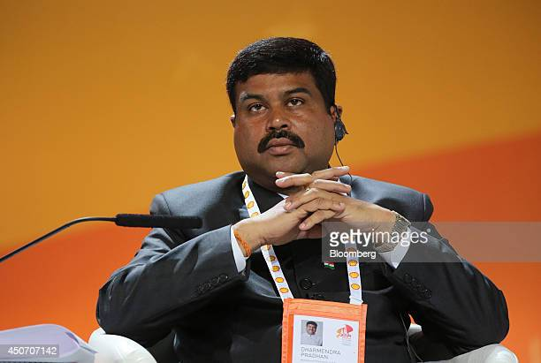 H E Dharmendra Prahdan India's state minister for petroleum and gas speaks during a plenary session of the 21st World Petroleum Congress in Moscow...