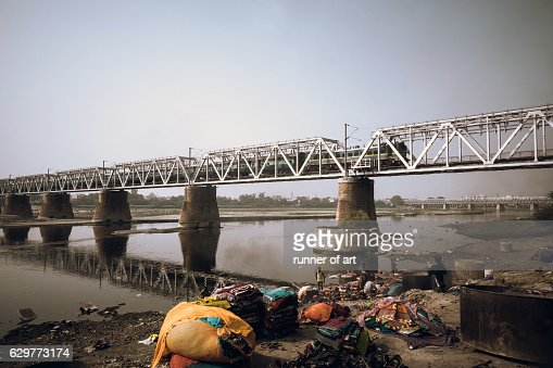 Dhobi ghat along the Yamuna riverbank