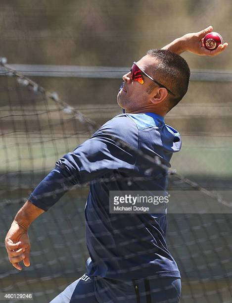 Dhoni bowls in the nets during an India Training Session at Adelaide Oval on December 8 2014 in Adelaide Australia Dhoni was earlier announced at a...