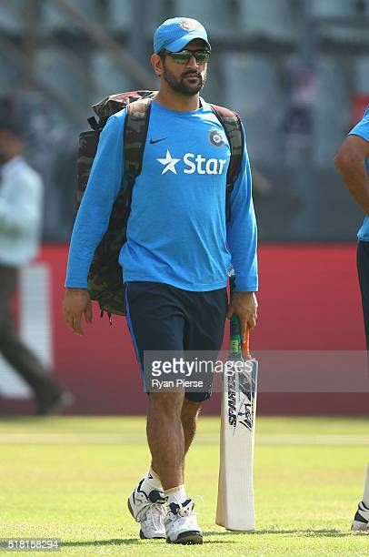 Dhoni Captain of India arrives during an India training session at Wankhede Stadium on March 30 2016 in Mumbai India