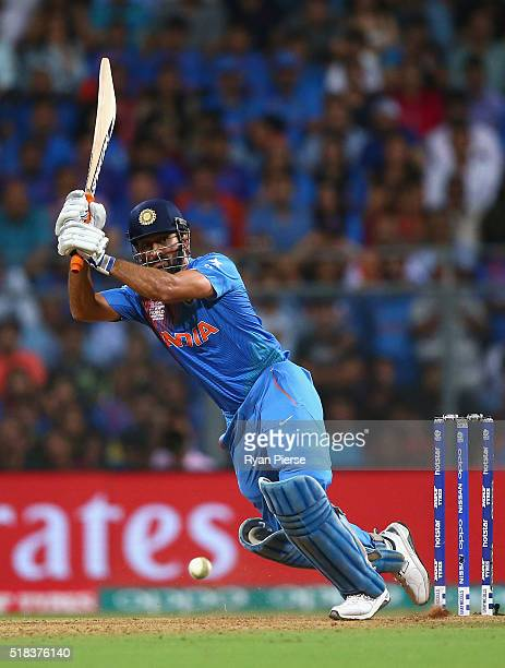 Dhoni Captain of India bats during the ICC World Twenty20 India 2016 Semi Final match between West Indies and India at Wankhede Stadium on March 31...