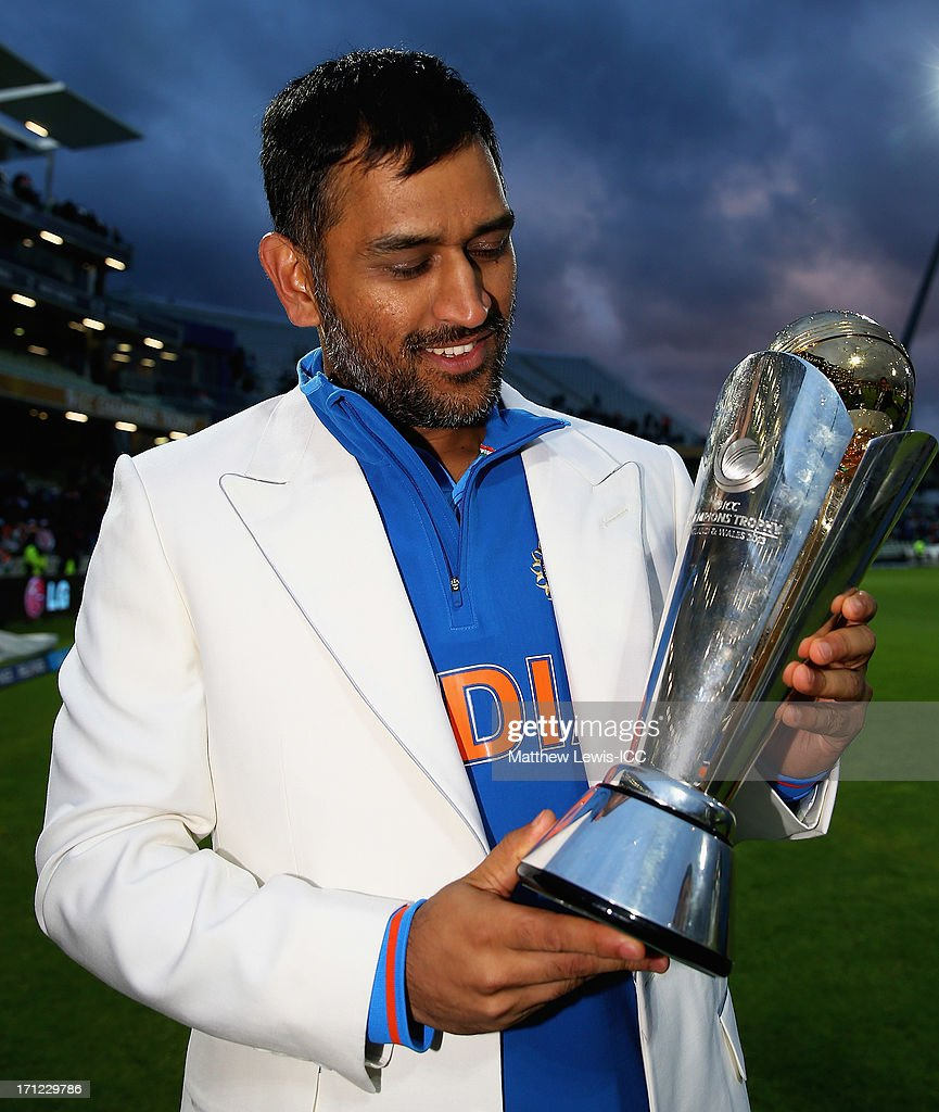 MS Dhoni, Captain of India celebrates his teams win over England during the ICC Champions Trophy Final between England and India at Edgbaston on June 23, 2013 in Birmingham, England.