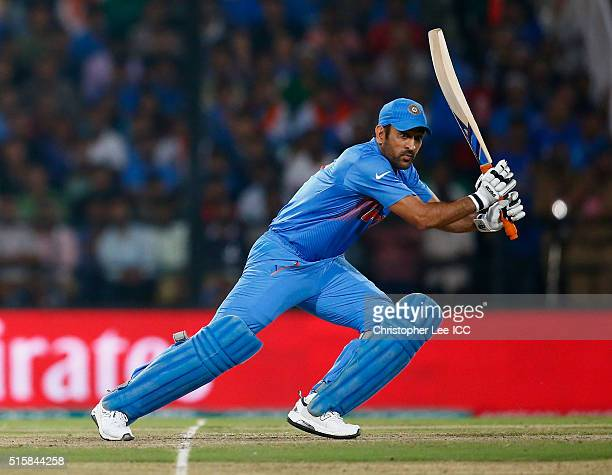 Dhoni Captain of India in action during the ICC World Twenty20 India 2016 Group 2 match between New Zealand and India at the Vidarbha Cricket...