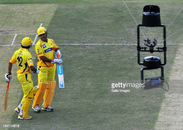 Dhoni of CSK and new batsman Ravindra Jadeja overlooked by the spidercam during the Champions League Twenty20 match between Chennai Super Kings and...