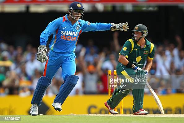 Dhoni of India apeals the wicket of Mike Hussey of Australia during game seven of the One Day International series between Australia and India at The...