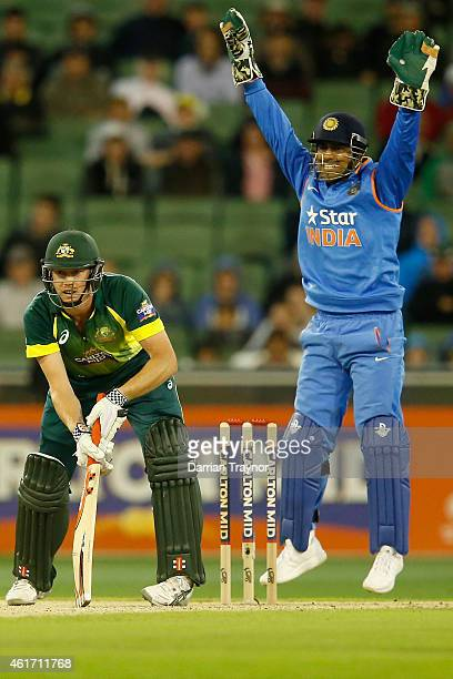 Dhoni of India appeals for an lbw against James Faulkner of Australia during the One Day International match between Australia and India at Melbourne...