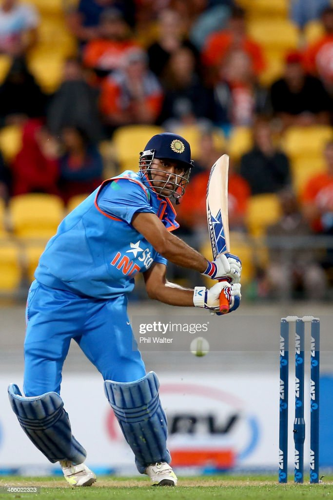 MS Dhoni of India bats during Game 5 of the men's one day international between New Zealand and India at Westpac Stadium on January 31, 2014 in Wellington, New Zealand.