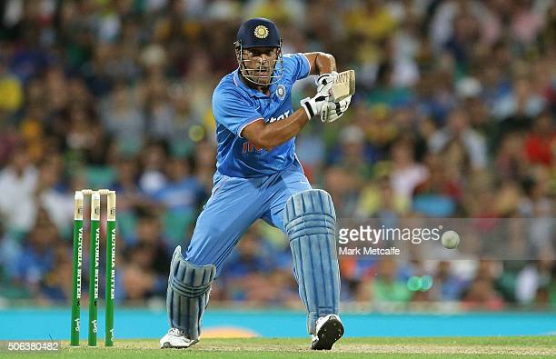 Dhoni of India bats during game five of the Commonwealth Bank One Day Series match between Australia and India at Sydney Cricket Ground on January 23...