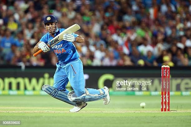 Dhoni of India bats during game one of the Twenty20 International match between Australia and India at Adelaide Oval on January 26 2016 in Adelaide...