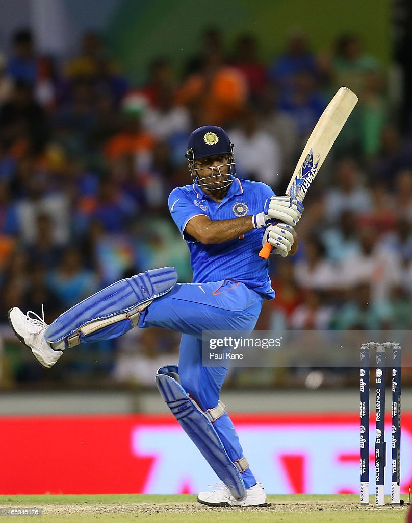 MS Dhoni of India bats during the 2015 ICC Cricket World Cup match between India and the West Indies at WACA on March 6, 2015 in Perth, Australia.