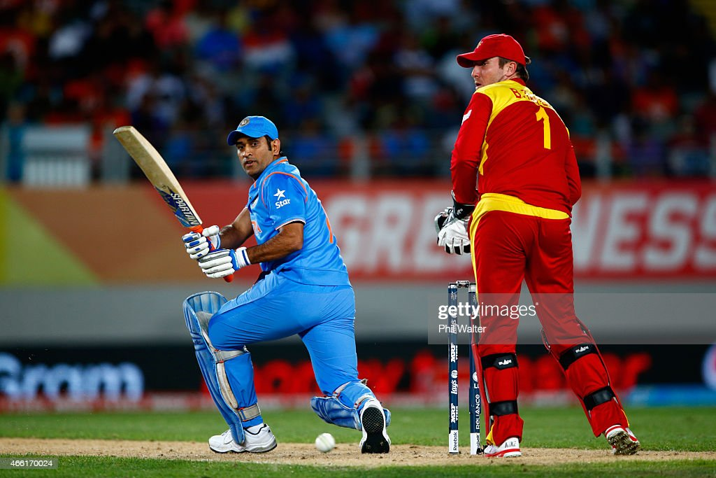 MS Dhoni of India bats during the 2015 ICC Cricket World Cup match between India and Zimbabwe at Eden Park on March 14, 2015 in Auckland, New Zealand.