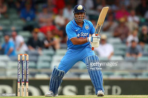 Dhoni of India bats during the One Day International match between England and India at the WACA on January 30 2015 in Perth Australia