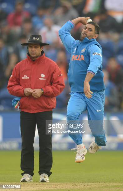 MS Dhoni of India bowling during the ICC Champions Trophy Semi Final between India and Sri Lanka at the Swalec Stadium Cardiff 20th June 2013 The...
