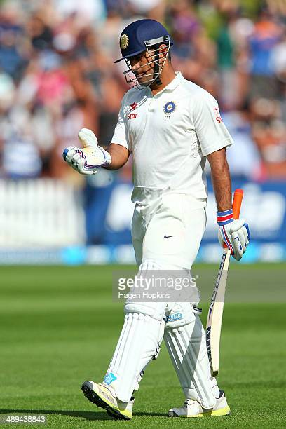 Dhoni of India leaves the field after being dismissed during day two of the 2nd Test match between New Zealand and India on February 15 2014 in...