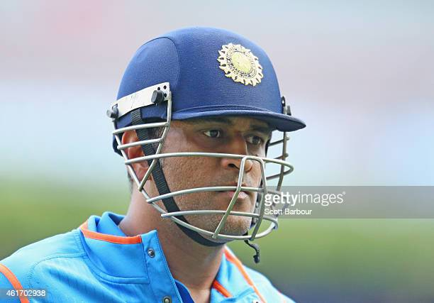 Dhoni of India leaves the field after being dismissed during the One Day International match between Australia and India at the Melbourne Cricket...