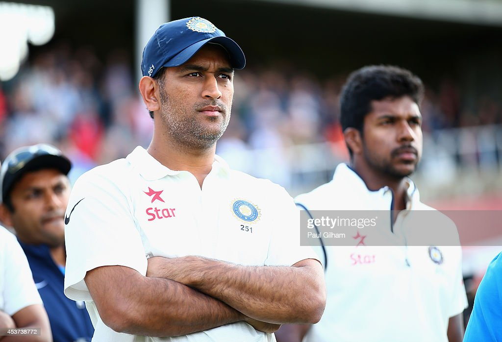 Dhoni of India looks on after India lost the match to England during day three of the 5th Investec Test match between England and India at The Kia...