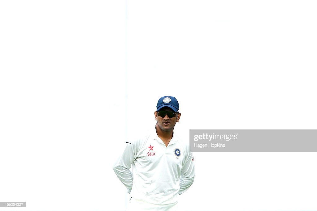 MS Dhoni of India looks on during day one of the 2nd Test match between New Zealand and India on February 14, 2014 in Wellington, New Zealand.